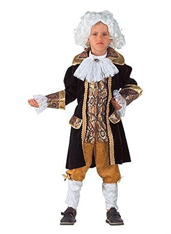 Premium Amadeus Mozart-Kostüm für Jungen mit Halsbinde und Stulpen | Hochwertiges Karnevals-Kostüm / Faschings-Kostüm / Kinderkostüm | Perfekte Barock Verkleidung für Karneval, Fasching, Fastnacht (Größe: