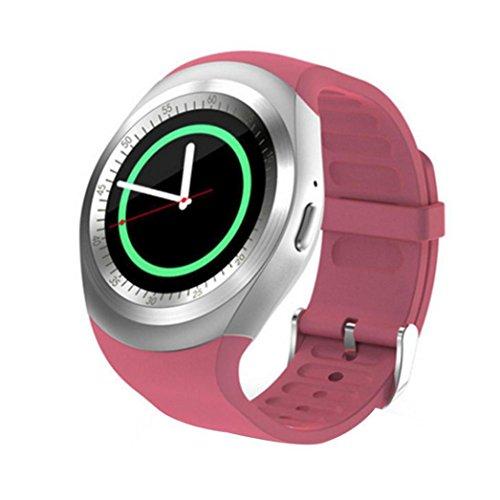 Bescita Smart Watch, Bluetooth 4.0Colorfol LED smart phone orologio con cardiofrequenzimetro, Touch Screen e fitness tracker per Android e iOS, Pink