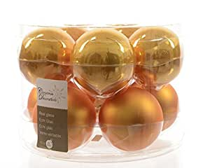 Izaneo - Lot de 10 boules de noel en verre mandarine