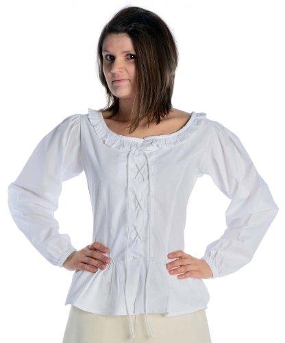 HEMAD Damen Bluse mit Rüschen zum Schnüren Langarm Baumwolle - Mittelalter - Piraten weiß (Pirat Bluse Weiße)