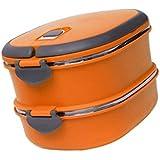Contenedor de Alimentos Térmico Aislamiento Caja de Almuerzo Bolsas para llevar Comida Sándwiches Cuadrada Acero Inoxidable - Naranja, 2Capas