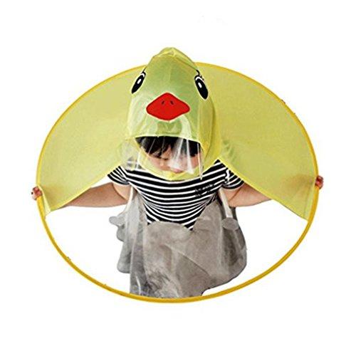 Rosennie Baby Mädchen Junge Regenmantel Kinder Raincoats Portable Regenschirm Hut PEVA wasserdichte Mantel Headwear Portable Hände Frei PEVA Regenbekleidung Coats -
