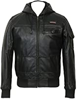 Childrens Hooded Black Real Leather Jacket