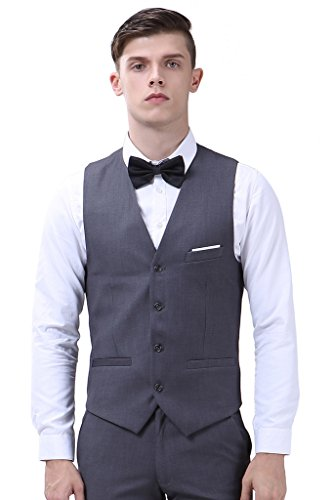 Herren Anzug Slim Fit 3 Teilig mit Weste Sakko Anzughose Business Smoking von Harrms,9 Farben, Größe 46-56 Grau