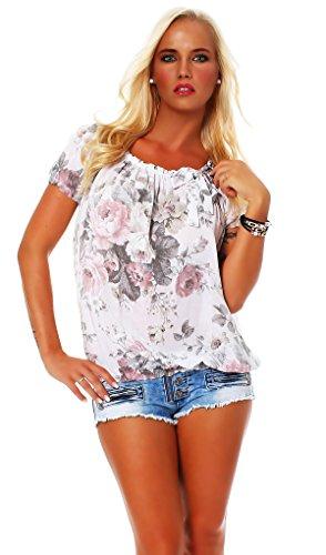 ZARMEXX Damen Bluse Oberteil Shirt Blumenmuster Carmenbluse Kurzarmshirt Viskose *BIG ROSE*, One Size Gr.36-40, Weiß
