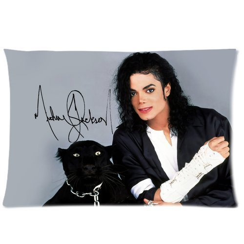 Warmhome Custom Michael Jackson mit Hund, dekorativ, weicher Überwurf-Kissenbezug, Kissenbezug, mit Reißverschluss, Standardgröße, 50,8 x 76,2 cm, beidseitig Bedruckt (Jackson Michael Reißverschluss)