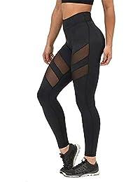 cuckoo-X Cintura Alta Pantalones de Yoga de Bolsillo Control de la Barriga Entrenamiento Correr