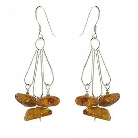 Boucles d'oreilles en argent sterling avec éclats de lustre en ambre véritable