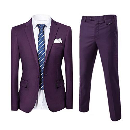 Slim Fit 2-Teilig Herren Anzug für Hochzeit Party Violett XXX-Large
