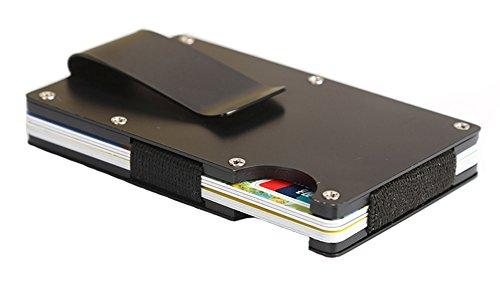 HONB Echtes Leder Smart Brieftasche, Smart Wallet, Kreditkartenetui (Stainless Steel ()