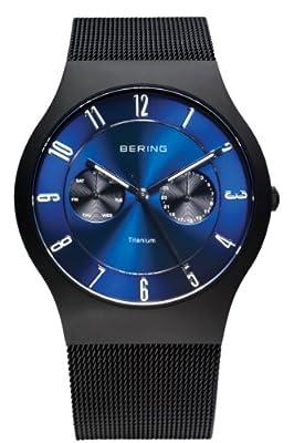 Bering Time 11939-078 - Reloj analógico de cuarzo para hombre con correa de acero inoxidable, color negro de Bering Time