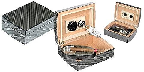 Humidor Humidificateur Boîte Porte 40cigares Cigar case fibre de carbone LUBINSKI avec accessoires LUBINSKI