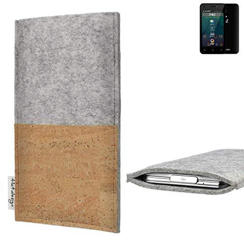 flat.design Handy Hülle Evora für Allview P42 handgefertigte Handytasche Kork Filz Tasche Case fair grau