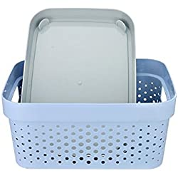 The Virgo Plastic Storage Basket boxes organizer container bin for Storing Cloth fruits vegetable Utensils Kitchen , Office , Bathroom , Home décor - Random Color Size (in cm) : 26 * 17* 13 (LENGTH * BREADTH * HEIGHT)