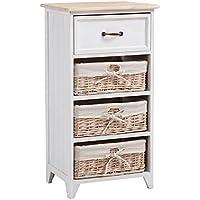 Commode PROVENCE rangement 1 tiroir et 3 paniers étagère en bois de paulownia style shabby chic vintage rustique campagnard blanc