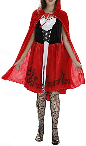 Freitop Halloween Kostüm Rotkäppchen Damen mit Umhang Cape Little Red Riding Hood Rollenspiel Kostüm Kleid Set mit Kapuze Abendkleid für Damen Mädchen Kinder Cosplay Party Club Karneval Halloween Fest (Little Red Riding Hood Halloween-cape)