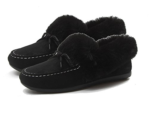 Anderlay Womens Ladies Girls Warm Suede Loafers plimsolls Flat Trainers Pumps Shoes (5.5 UK, Black)