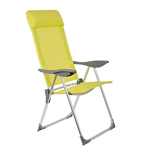 Bakaji sedia pieghevole in alluminio schienale reclinabile in 5 posizioni con braccioli in plastica e cuscino poggiatesta rimovibile campeggio spiaggia giardino dimesnione 110 x 59 x 59 cm (giallo)