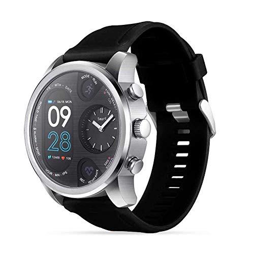 Doppio fuso orario IPS Smart Watch IP68 impermeabile, 2018 rotonda quarzo uomo Smart Watch, sport fitness tracker Bluetooth 4.0 Smart bracciale con frequenza cardiaca/sfigmomanometro per Android iOS