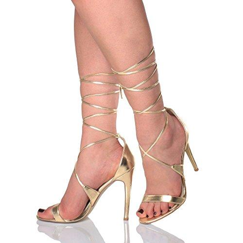 Donna tacco alto appena malapena là cinghietti allacciare sandali scarpe taglia Oro metallizzato