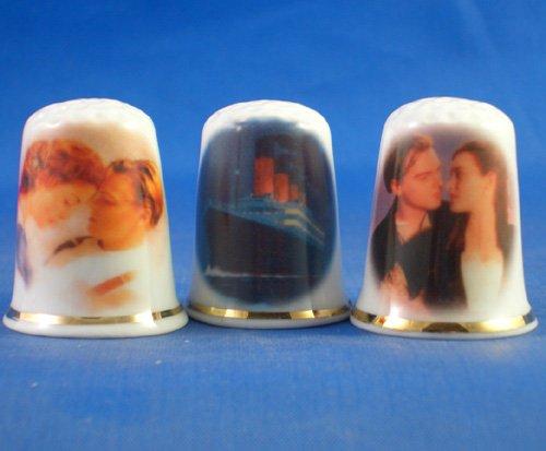 Porcelana China colección de dedales Juego de tres Titanic