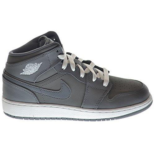Nike Air Jordan 1 Mid BG Grey White Youths Trainers