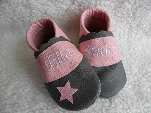 (Annes-Lederpuschen Krabbelschuhe mit Namen Taufschuhe Babyschuhe personalisiert Lederpuschen Mädchen Geburtsgeschenk rosa grau)