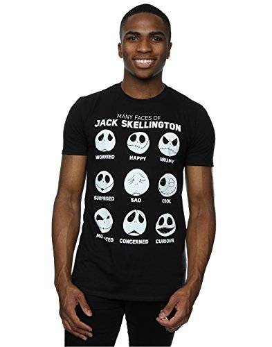 (Disney Herren Nightmare Before Christmas Many Faces Of Jack T-Shirt Small Schwarz)