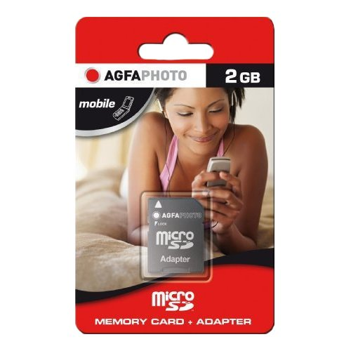 AgfaPhoto Mobile MicroSD 2GB Eco Speicherkarte mit SD Adapter