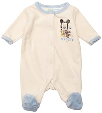 Mickey Mouse ME0426 Baby Boy's Sleepsuit Snow White/Light Blue 0-3 Months