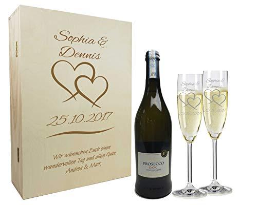 laser-diele Graviertes Geschenkset zur Hochzeit aus 2 Sektgläsern, Sektflasche und Einer Holzkiste, Holzbox mit Gravur Zwei Herzen individuell mit Wunschtext