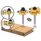 APLUS - Set con fresa a coda e a T con 3 denti, per scanalatura, strumento di lavoro del legno