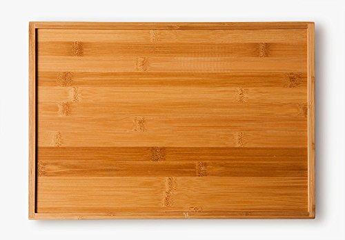Bandeja de de bambú , para servir comidas (40 x 28 x 4,5 cm, 580 g) - 4