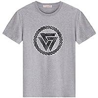 Camiseta Hombres Cuello Redondo Impresión Algodón Mangas Cortas Hombre Salvaje Acogedor Amantes Verano C952774188 1004 (Color : Gris, Tamaño : XXXXL)