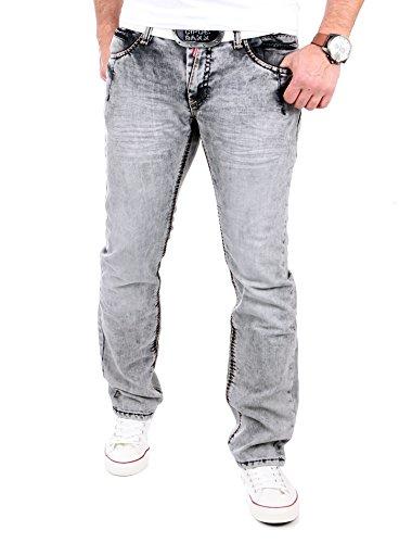 Rusty Neal Jeans Herren Burned Wash Style Jeanshose RN-8323-32 Grau Grau