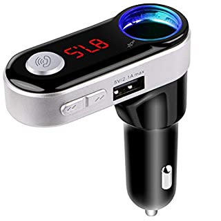 FM Transmitter Bluetooth Car Kit Auledio Wireless Radio Adapter with USB Charger TF Card Supports Hands-Free Talking hands-free calling for iPhone, Samsung and other smartphones