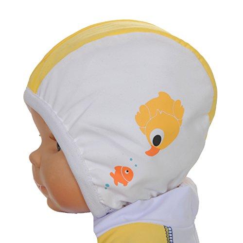 PiwapeeTT47 -Cuffia da bagno per bebè, Anatra nuotatrice, Bianco Giallo, 6-12 mesi
