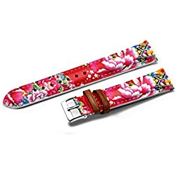 14mm Genuine Leather Watch Strap Band - Red Chinese Style Flowers