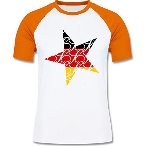 Länder - Deutschland Stern - zweifarbiges Baseballshirt für Männer Weiß/Orange