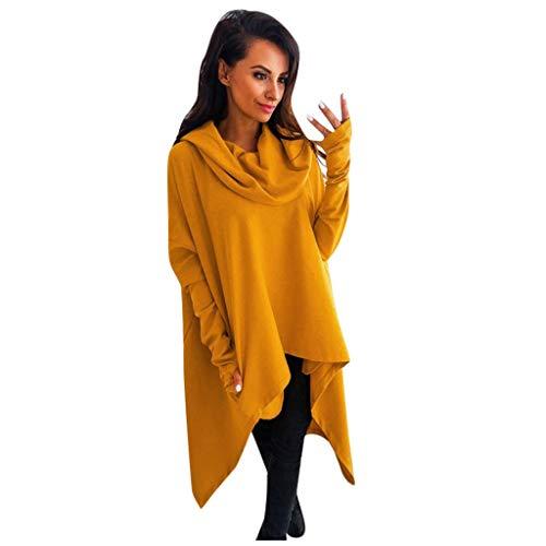 Nyuiuo Solides Langarm-Hoodie-Sweatshirt für Damen Lose unregelmäßige Pullover-Oberteile Bluse Damen Shirt Lange Hülsen-Drawstring-Sweatshirt mit Kapuze Spitzenpullover-Bluse Langarm Shirt -