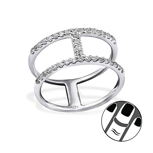 Stering Silver Line Midi Ring with Cubic Zirconia