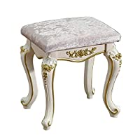 ADDG Dressing stool/makeup stool/baroque piano chair/upholstered bench, steel foot/plastic pad, for dressing/living room/bedroom,Gold,C