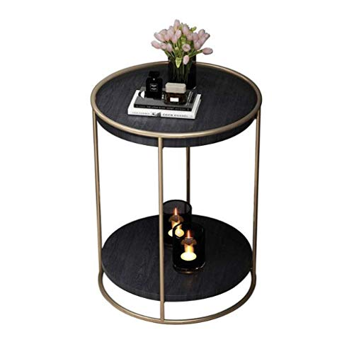 ACZZ Sofa Beistelltisch, Schmiedeeisen 2 Tier Kleine runde Couchtisch, einfache Massivholz Marmor Wohnzimmer Schlafzimmer Kaffeelesetisch, 40 * 55Cm,Schwarz -