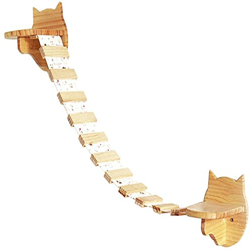 "Da Jia Inc 2 Small Wooden Cat Step Cloud Shelves with 31.5""L Raceway Wall Mounted Cat Perches Kitten Climbers"