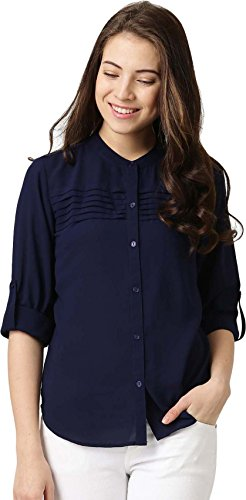 Queens Women's 3/4 Sleeve Solid Crepe Navy Blue Shirt, XXL