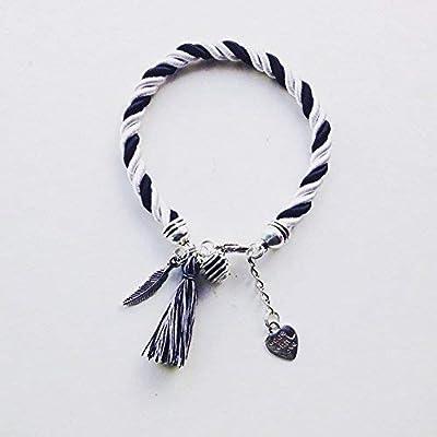 Bracelet à parfumer noir et blanc pendentif plume et pompon, Bracelet plume, bijou, bijoux, bracelets, bracelet femme, bracelet pompon