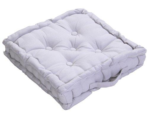Homescapes Coussin de Chaise de Couleur Gris Fait en 100% Coton de 40x40 cm pour Chaise de Salon et Chaise de Jardin