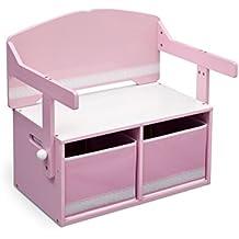 Delta Children - Banco de almacenamiento y escritorio 3 en 1, color rosa