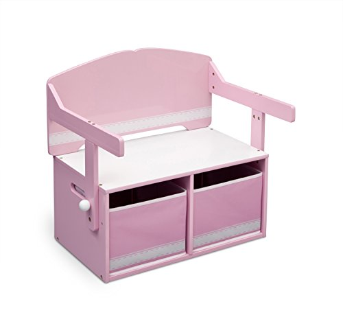 Delta Children 3-in-1 Storage Bench and Desk (Pink)