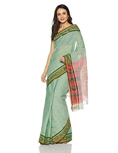 IndusDiva Pochampally Ikat Pure Cotton Handloom Saree (BLR1731000_Green_One Size)